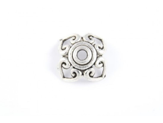 21mm Antique Silver Open-Cut Flower Heart Swirl Bead Cap
