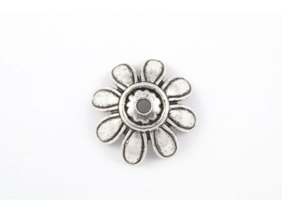 26mm Antique Silver Daisy Flower Bead Cap