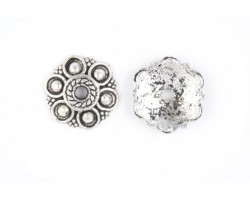 13mm Antique Silver Studded Round Flower Bead Cap