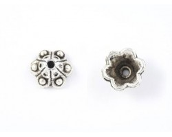 9mm Antique Silver 6 Point Flower Filigree Bead Cap