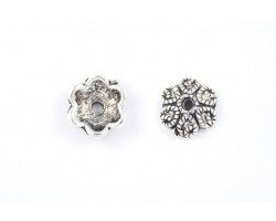 10mm Antique Silver 6 Point Flower Bead Cap With Roped Design