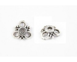 9mm Antique Silver Tri Circle With Bali Bead Design Flat Bead Cap