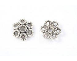 13mm Antique Silver 6 Roped Cutout Petal Flower Bead Cap