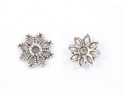 10mm Antique Silver 8 Point Etched Design Flower Bead Cap
