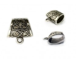 23mm Antique Silver Oriental Design Bail