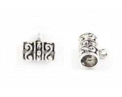 Antique Silver S and Dot Design Barrel Bead Bail