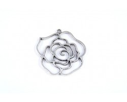 Antique Silver Plate 41mm Cut Out Rose Charm
