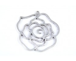 55mm Antique Silver Plate Flower Rose Charm