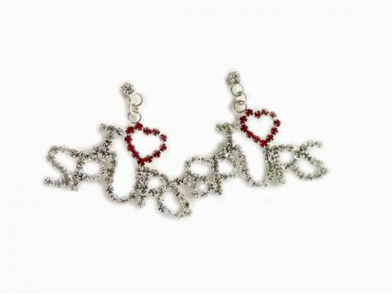 Clear and Red Crystal I Heart Spurs Post Dangle Earrings