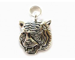 Tiger Head Antiqued Silver Plate Charm