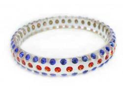 Cleat Lucite Bangle Bracelet Orange & Blue Crystals