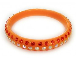 Orange Band With 3 Rows Of Hyacinth and AB Crystals