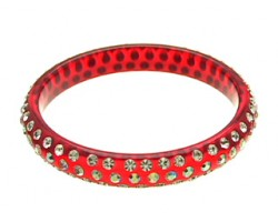 Red Bangle With 3 Rows Of Clear and AB Crystals