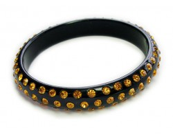 New Orleans Saints Black Lucite Bangle Bracelet With 3 Rows Of Topaz Crystals