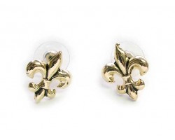Gold Plate Small Fleur De Lis Post Earrings