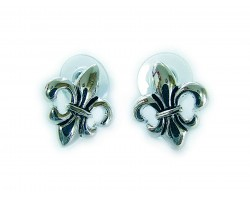 Silver Plate Small Fleur De Lis Post Earrings