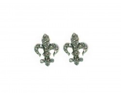 Crystal Stone Gold Fleur De Lis Post Earrings