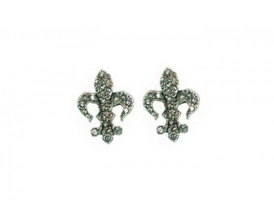 Crystal Stone Gold Fleur De Lis Post Earrings