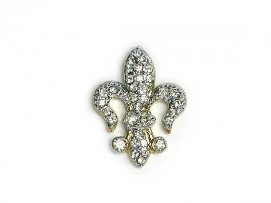 Clear Crystal Gold Plate Fleur De Lis Tie Tack