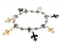 Black Gold Fleur De Lis Charm Stretch Silver Bracelet