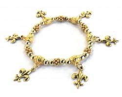 Gold Fleur De Lis Charm Stretch Bracelet