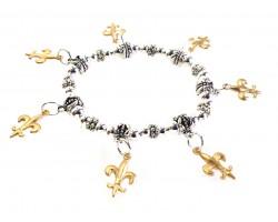 Gold Matte Fleur De Lis Charm Stretch Silver Bracelet
