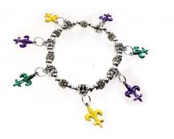 Mardi Gras Fleur De Lis Charm Silver Stretch Bracelet