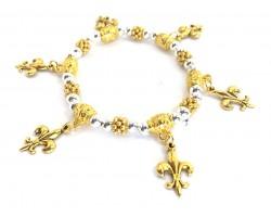 Silver Gold Fleur De Lis Charm Stretch Bracelet