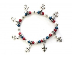 Red White Blue Fleur De Lis Charm Stretch Bracelet
