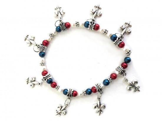 Red White Blue Fleur De Lis Charm Stretch Bracelet