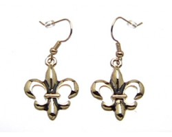 Gold Fleur De Lis Dangle French Hook Earrings