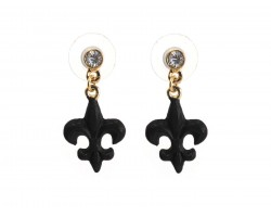 Black Fleur De Lis Crystal Post Earrings