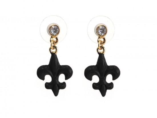 Black Fleur De Lis Crystal Post Earrings