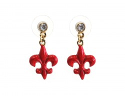 Red Fleur De Lis Crystal Post Earrings