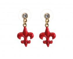 Red Fleur De Lis Crystal Post Earrings