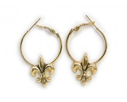 Gold Fleur De Lis Hoop Earrings