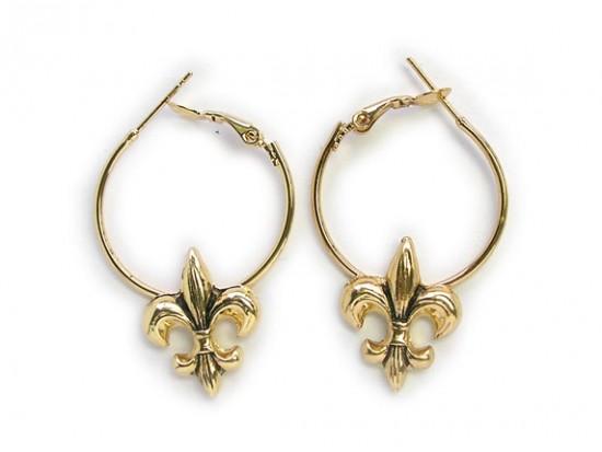 Gold Fleur De Lis Hoop Earrings