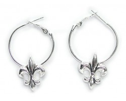 Silver Fleur De Lis Hoop Earrings