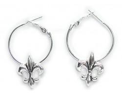 Silver Fleur De Lis Hoop Earrings