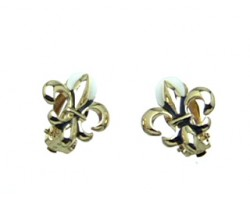 Gold Fleur De Lis Clip Earrings