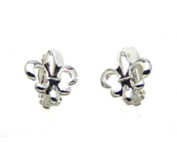 Silver Fleur De Lis Clip Earrings