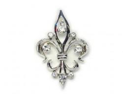 Silver & Clear Crystal Fleur De Lis Brooch