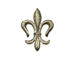 Gold Leaf Pattern Fleur De Lis Brooch Pendant