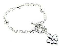 Antique Silver Fleur De Lis Dangle Charm Toggle Bracelet