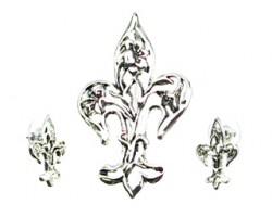 Antique Silver Open Floral Fleur De Lis Pendant Earring Set