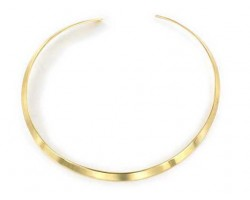 Gold Plated Flat Plain Choker 5mm Wide