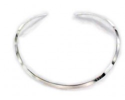 Silver Plated Flat Plain Choker 5mm Wide