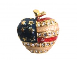Gold USA Flag Apple Crystal Pin