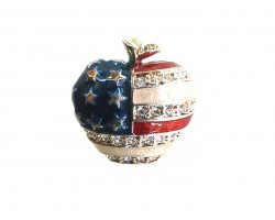 Silver USA Flag Apple Crystal Pin