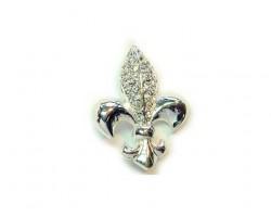 Silver Clear Crystal Fleur De Lis Brooch